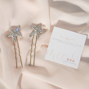 Crystal starfish bridal hair pins