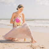 Beach wedding barefoot bridesmaid
