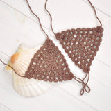 brown crochet lace barefoot sandals flat lay