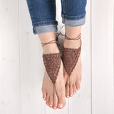 brown crochet lace barefoot sandals on feet