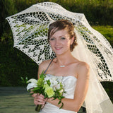 Bride under lace wedding umbrella