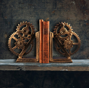 Metal Steampunk Bookends