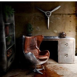 Aviator desk and aviation chair leather