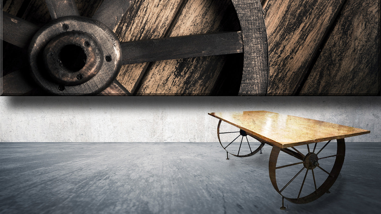 vintage wagon wheel table with with rustic hardwood top