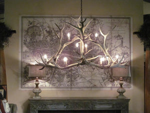 Huge Authentic Elk Crossbar Antler Chandelier - 10 Lights - Handcrafted USA - Rustic Deco Incorporated