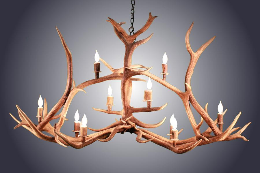 Huge Authentic Elk Crossbar Antler Chandelier - 10 Lights - Handcrafted USA-Rustic Deco Incorporated