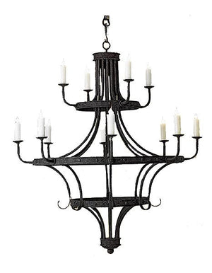 "12 Light Hand Forged Iron Chandelier - 54"" Diameter - 66"" High - Rustic Deco Incorporated"