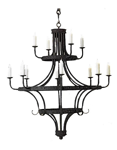 "12 Light Hand Forged Iron Chandelier - 54"" Diameter - 66"" High-Rustic Deco Incorporated"