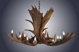 Genuine Moose Antler Chandelier Custom Handmade 12 Lights - Large - Rustic Deco Incorporated