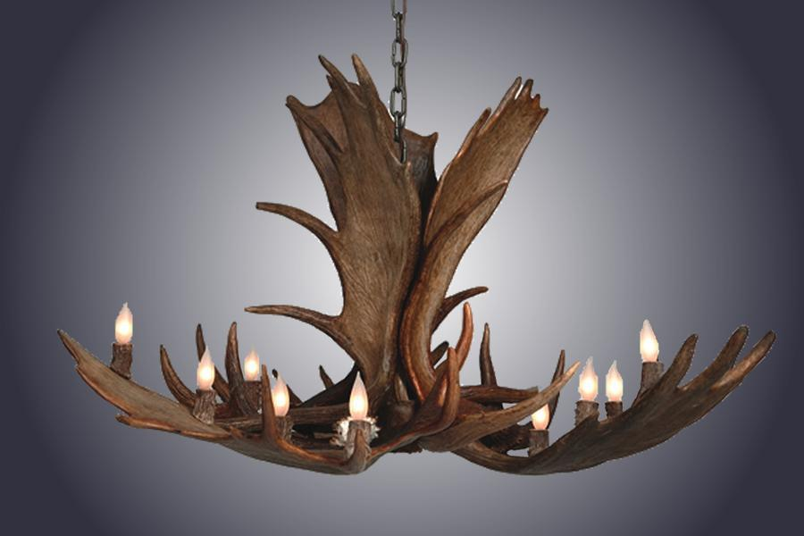 Genuine Moose Antler Chandelier Custom Handmade 12 Lights - Large-Rustic Deco Incorporated