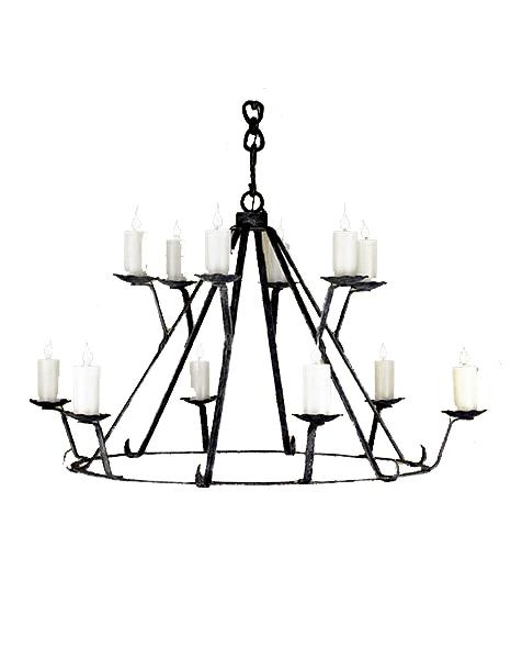 "12 Light Rustic Lodge Hand Forged Chandelier 36"" 48"" and 60"" Diameter-Rustic Deco Incorporated"