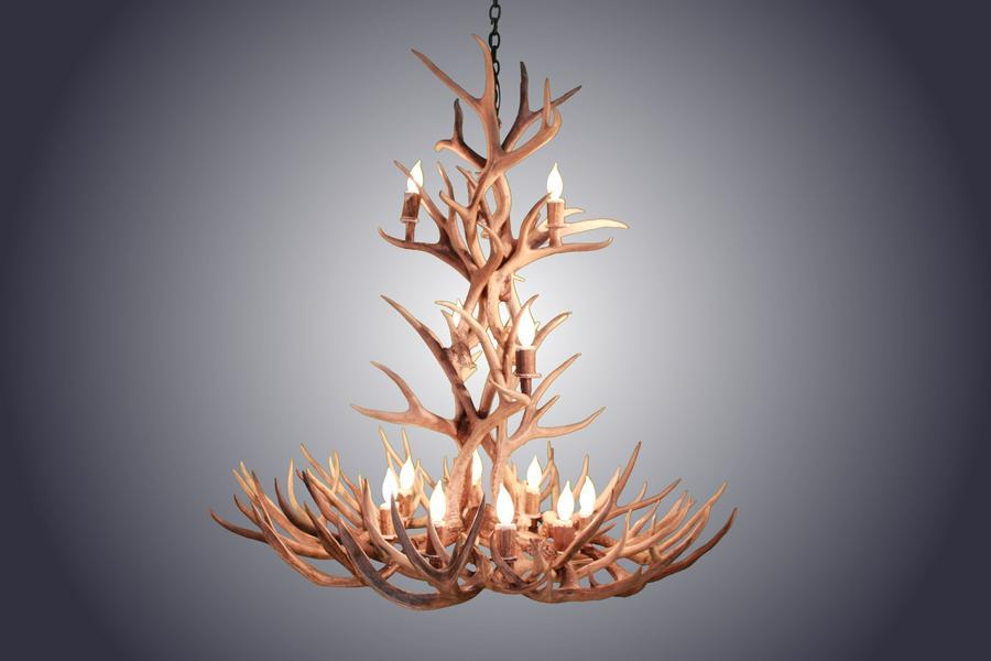 Genuine Mule Deer Antler Chandelier - XL 12 Light Handcrafted USA - Custom-Rustic Deco Incorporated