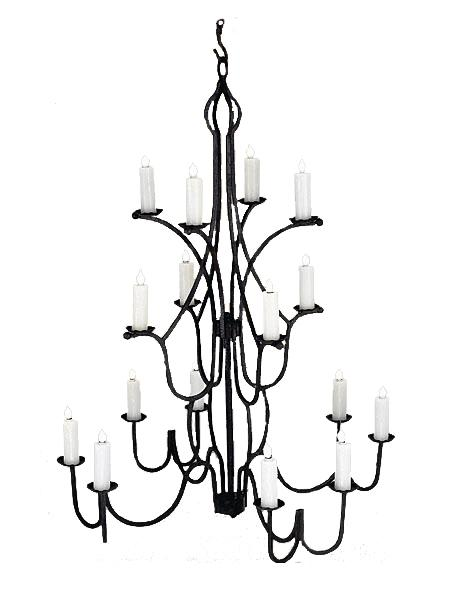 "16 Light Large Hand Forged Iron Chandelier -  42"" Diameter 64"" High - Rustic Deco Incorporated"