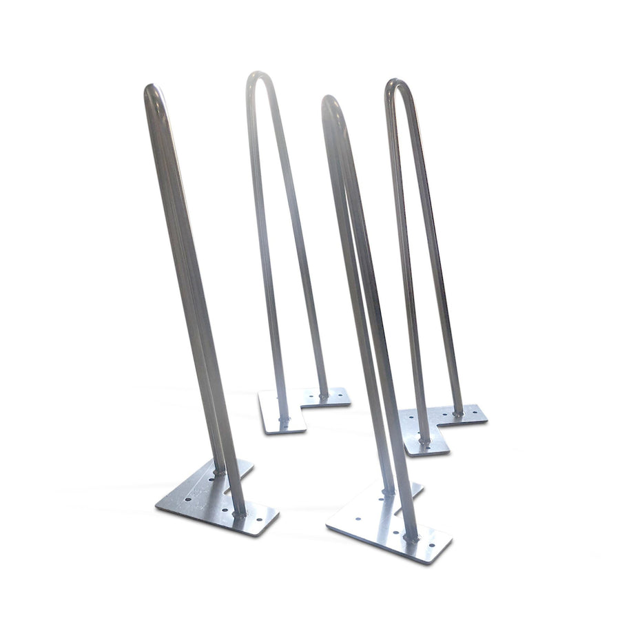 "2-Rod 16"" Inclined Hairpin Table Legs - Solid Stainless Steel - Set of 4 - Rustic Deco Incorporated"