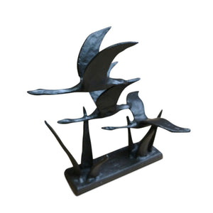 3 Flying Geese Metal Sculpture Cast Iron Metal Figurine-Rustic Deco Incorporated