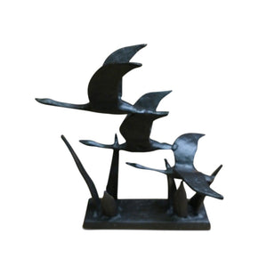 3 Flying Geese Metal Sculpture Cast Iron Metal Figurine - Rustic Deco Incorporated