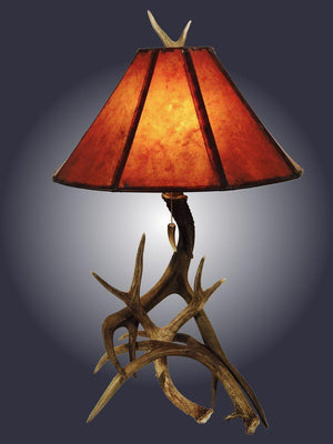 3 Horn Mule Deer Antler Table Lamp - Rustic Deco Incorporated
