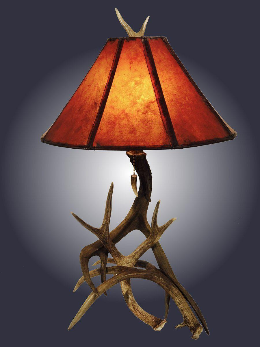 Genuine Mule Deer Antler Table Lamp - 3 Horn - Handmade USA-Rustic Deco Incorporated