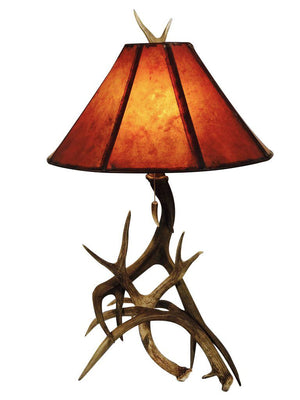 Genuine Mule Deer Antler Table Lamp - 3 Horn - Handmade USA - Rustic Deco Incorporated