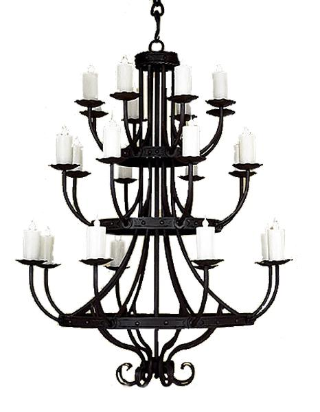 "3 Tier Hand Forged Iron Chandelier - 48 x 64""-Rustic Deco Incorporated"