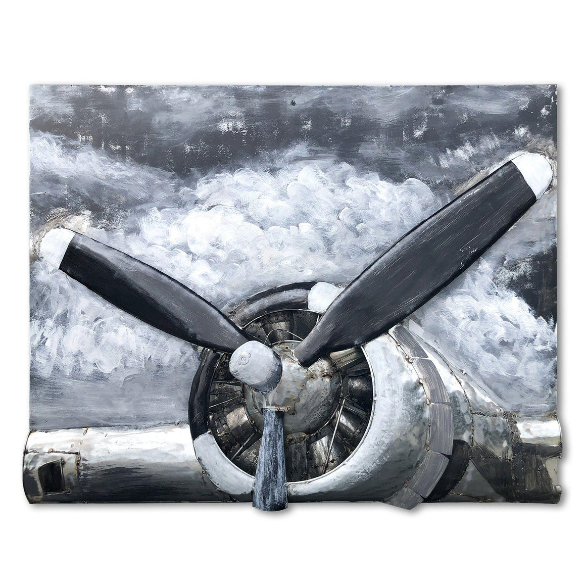 B-17 Engine 3D Metal Wall Art - WWII Bomber Aircraft Propeller-Rustic Deco Incorporated
