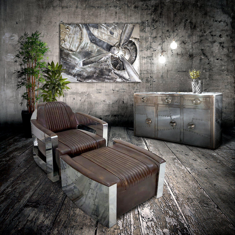 B-17 Bomber 3D Metal Wall Art - WWII Aircraft Engine Propeller 48x36-Rustic Deco Incorporated