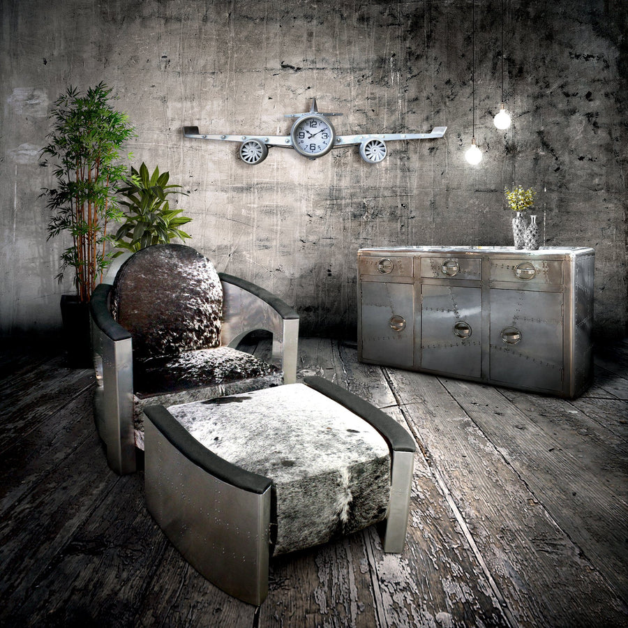 "40"" Long Silver Aviator Airplane Wall Clock-Rustic Deco Incorporated"