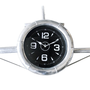 "Large Airplane Wall Clock - Polished Aviation Aluminum - 55"" Wingspan-Rustic Deco Incorporated"