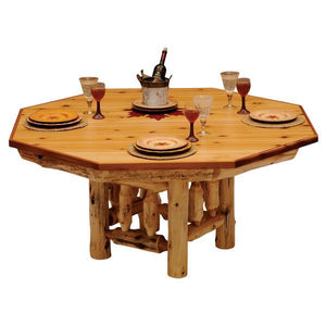 6-sided Cedar Log Poker Table - Armor Finish Top - Optional Dining Table Cover in 3 finishes - Rustic Deco Incorporated