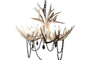 8 Light Mule Deer Antler Chandelier- Sun Bleached Finish - Rustic Deco Incorporated