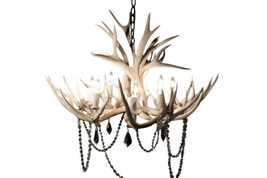 8 Light Mule Deer Antler Chandelier- Sun Bleached Finish-Rustic Deco Incorporated