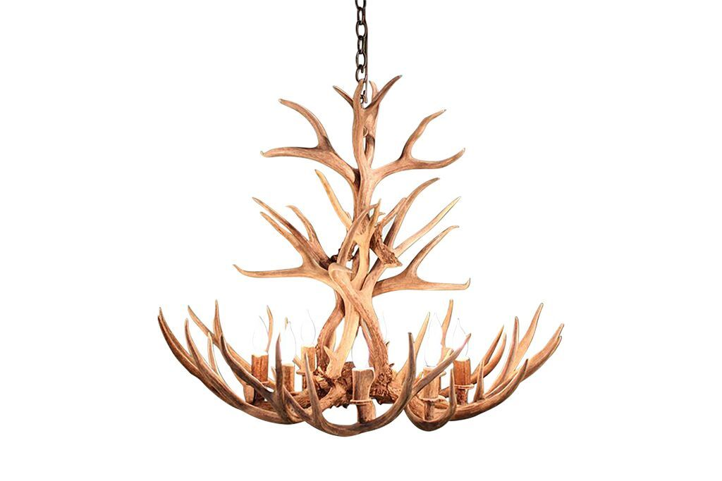 Tall Genuine Mule Deer Antler Chandelier 8 Light