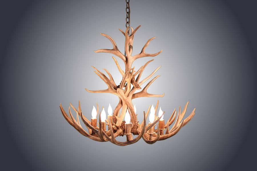 Tall Genuine Mule Deer Antler Chandelier - 8 Light Handmade USA - Custom - Rustic Deco Incorporated