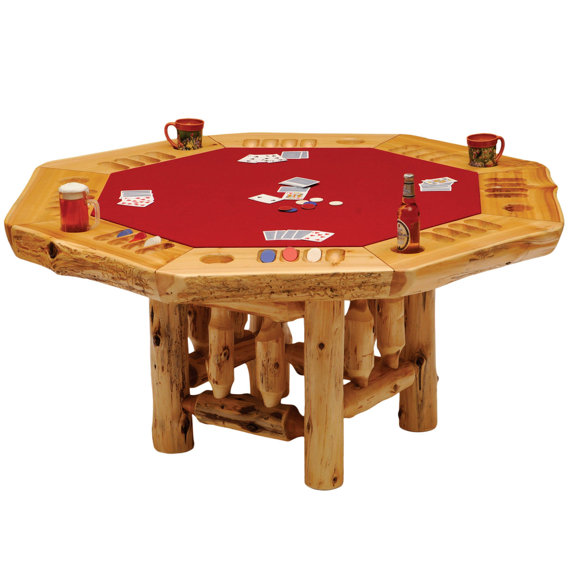 8-sided Cedar Log Poker Table - Armor Finish Top - Optional Dining Table Cover in 3 finishes-Rustic Deco Incorporated