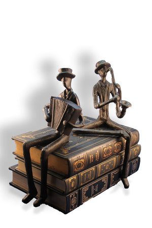 Accordion Jazz Musician Figurine Sculpture - Cast Iron - Blues Player Sculpture Rustic Deco