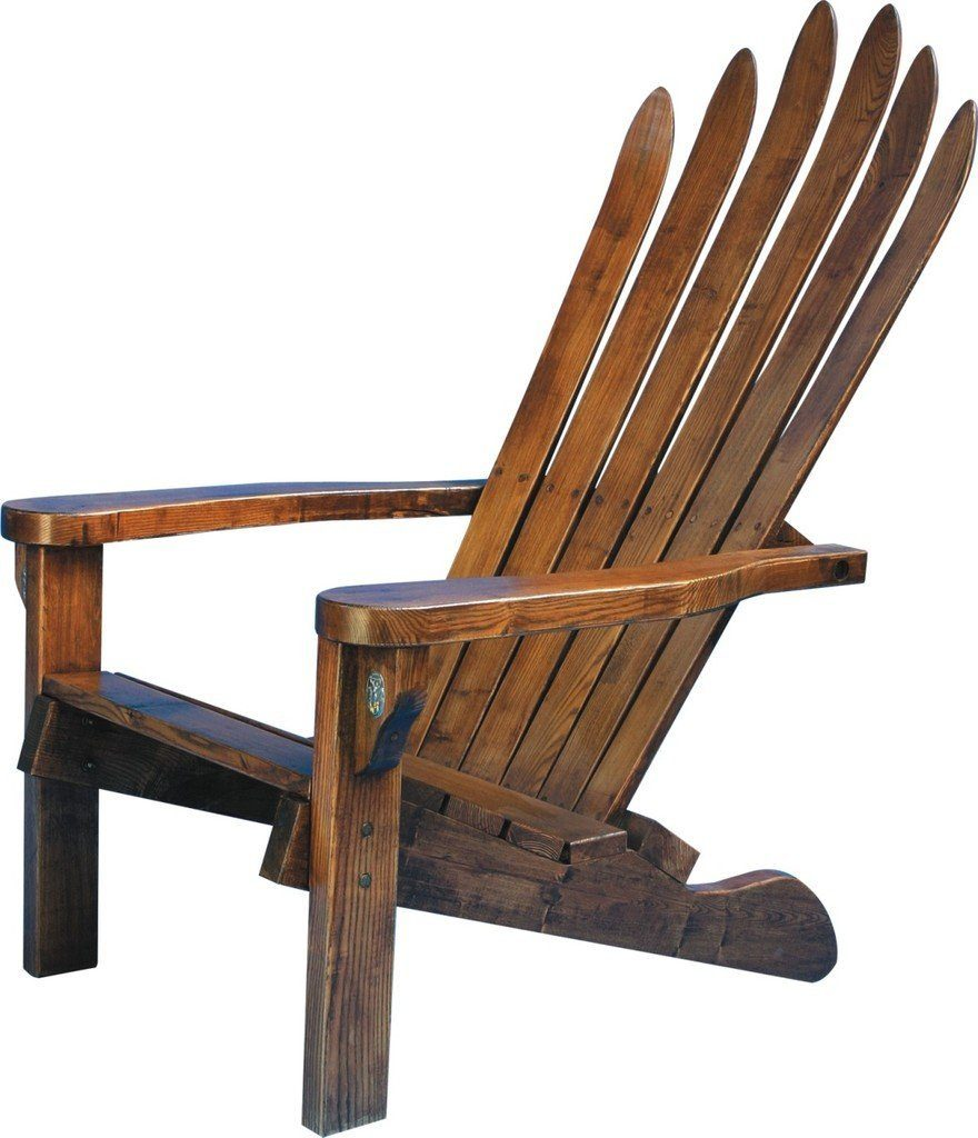 Rustic Adirondack Chair -  Wooden Ski Leisure Lounger - Hand Hewn Skies - Rustic Deco Incorporated