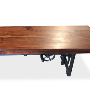 Industrial Dining Bench Seat - Cast Iron Base - Adjustable Height - Provincial-Rustic Deco Incorporated
