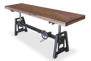 "Adjustable Crank Cast Iron Base Bench 70"" Provincial Solid Wood Top - Rustic Deco Incorporated"