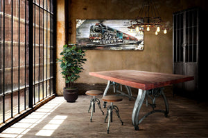 Industrial Dining Table - Adjustable Crank Base - Casters - Embossed Iron - Rustic Deco Incorporated