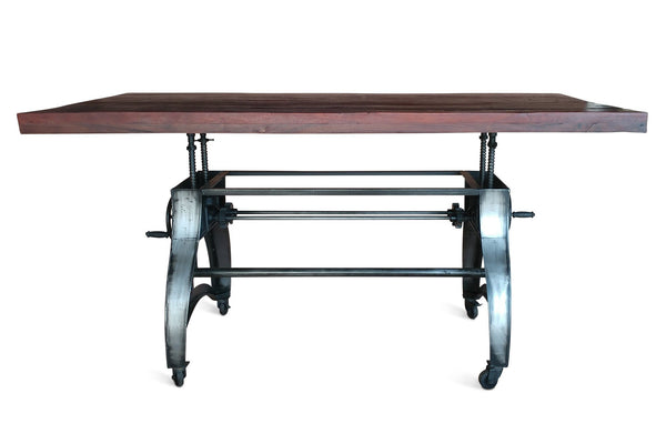 Adjustable Crank Dining Table Cast Iron Base Industrial
