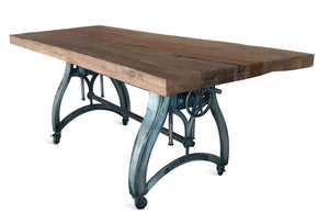 Adjustable Crank Dining Table - Iron Base - Industrial Casters - Rustic Deco Incorporated