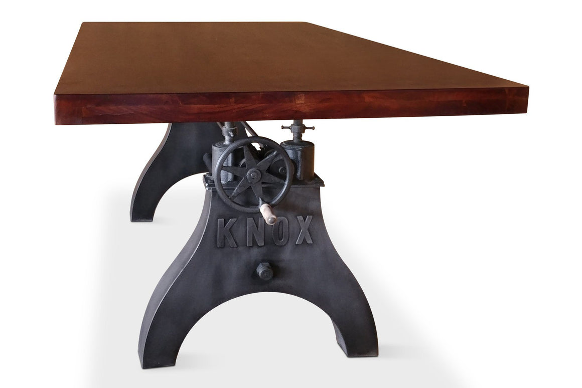 KNOX Adjustable Dining Table - Iron Crank Industrial Base - Provincial Top-Rustic Deco Incorporated