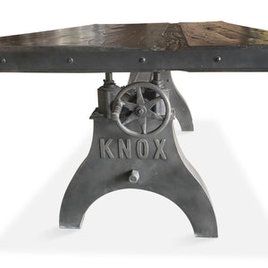 Adjustable Crank Dining Table - Iron Steel Base Embossed KNOX - Steampunk Dark Distressed Dining Table Rustic Deco