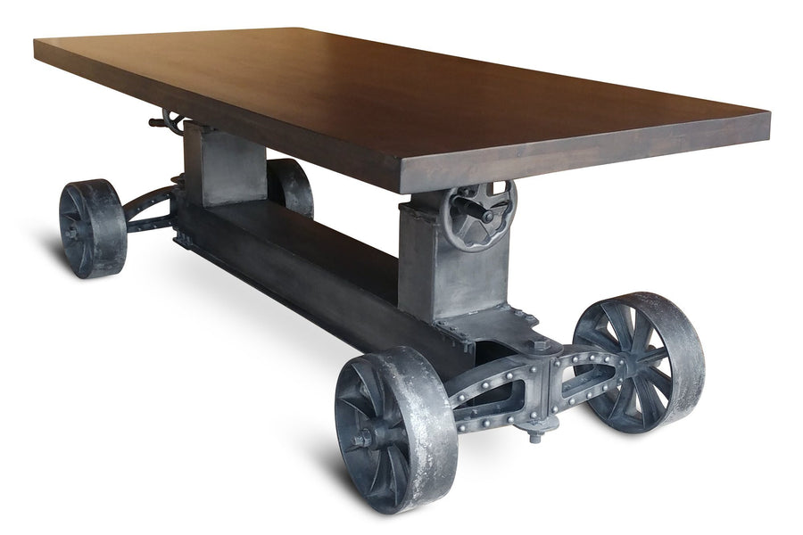 Industrial Trolley Table Desk Base - Iron Wheels - Adjustable Height - DIY-Rustic Deco Incorporated