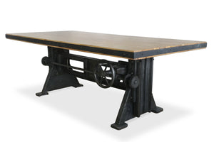 Industrial Dining Table - Adjustable Height Crank - Cast Iron Base - Rustic Deco Incorporated