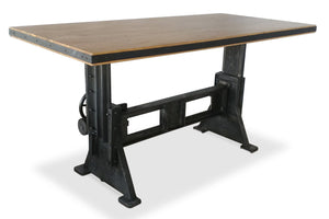 Industrial Dining Table - Adjustable Height Crank - Cast Iron Base-Rustic Deco Incorporated