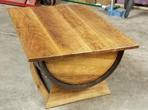 Adjustable Wine Barrel Coffee Table with Storage - Rustic - Rustic Deco Incorporated