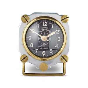 Altimeter Table Clock Aluminum - Aviator WWII Aircraft-Rustic Deco Incorporated