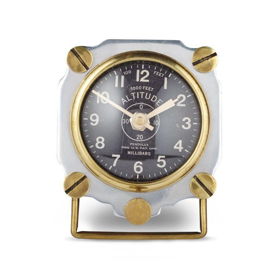 Altimeter Table Clock Aluminum - Aviator WWII Aircraft - Rustic Deco Incorporated