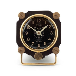 Altimeter Table Clock Black - Aviator Deck Clock - WWII Aircraft - Rustic Deco Incorporated